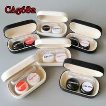 contact lens case cute fashion deco pu cover travel box CA5682
