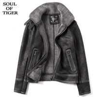 SOUL OF TIGER Korean Fashion New Winter Warm Streetwear Mens Vintage Fur Coats Male Biker Leather Jackets Slim Fit Suede Clothes