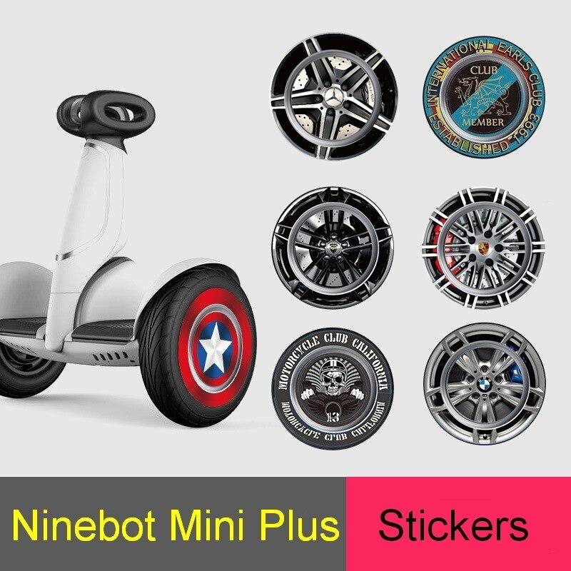 Ninebot S בתוספת Xiaomi מיני בתוספת Segway איזון קטנוע גלגל כיסוי מדבקות קפטן אמריקה BMW מרצדס מדבקות