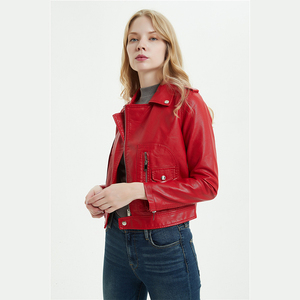 Image 4 - DK 2020 New Arrival Women Spring Leather Short Jacket Female Zipper Moto Biker Jacket  Faux Coat Black Red Outwear Plus Size