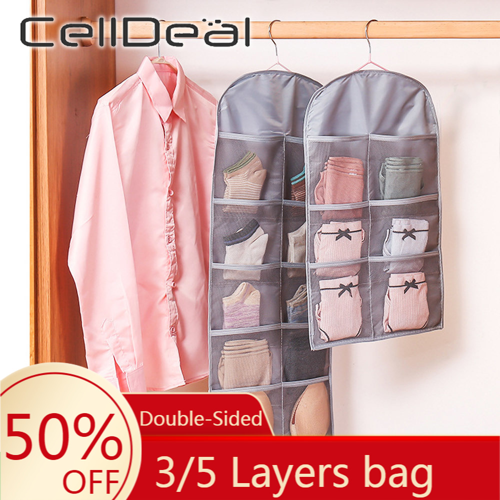 3/5 Layers Hanging Underwear Organizer Wardrobe Closet Double Side Multipockets Storage Bag With hook for Door Wall Bra Sundry