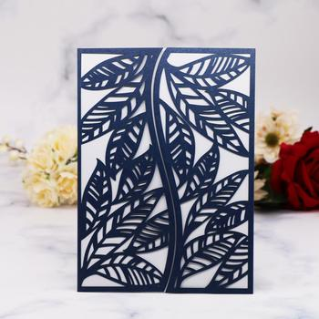 35pcs Shimmer Leaves Pattern Wedding Invitations Card Wedding Decorations Birthday Party Invitations Greeting Blessing Gift Card
