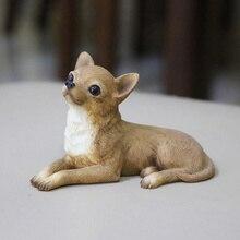 Мини-модель собаки чихуахуа, украшение для автомобиля, поделки из смолы, коллекционные подарки, украшение, креативный домашний декор, подел...