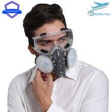 חדש נגד אבק מסכת מלא פנים הנשמה כפולה 4 שכבה מסנני בטיחות משקפי עבור קרפנטר ליטוש יומי אובך בטיחות הגנה