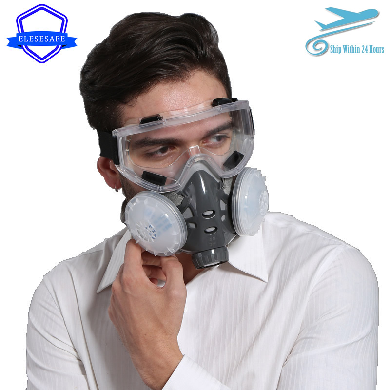 New Anti Dust Mask Full Face Respirator Dual 4-Layer Filters Safety Goggles For Carpenter Polishing Daily Haze Safety Protection