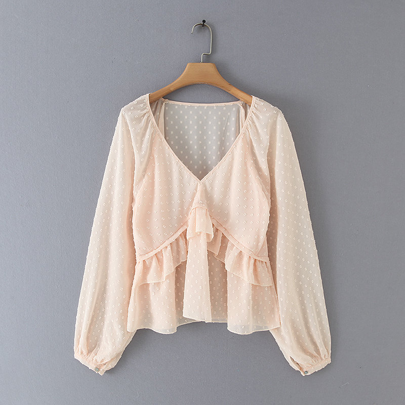 new women v neck dots design cascading ruffles   Shirts     blouses   women lantern sleeve chiffon roupas femininas chemise   shirt   LS4157
