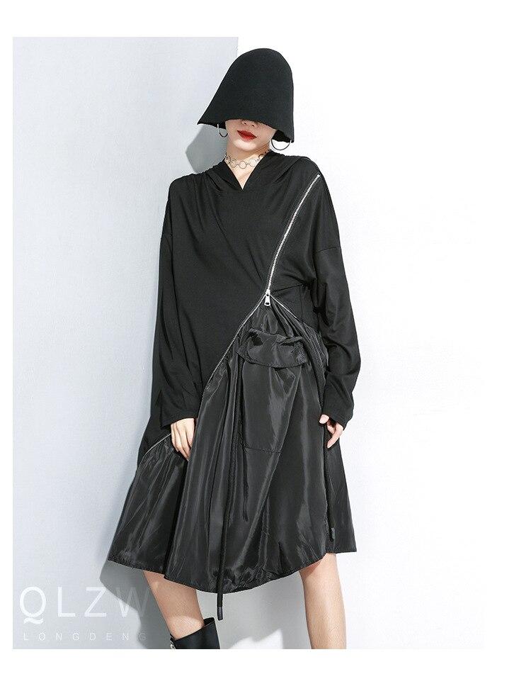 Femmes à manches longues épissé Zipper Design lâche décontracté noir à capuche robe femme Streetwear Hip Hop Punk gothique tendance robe cape