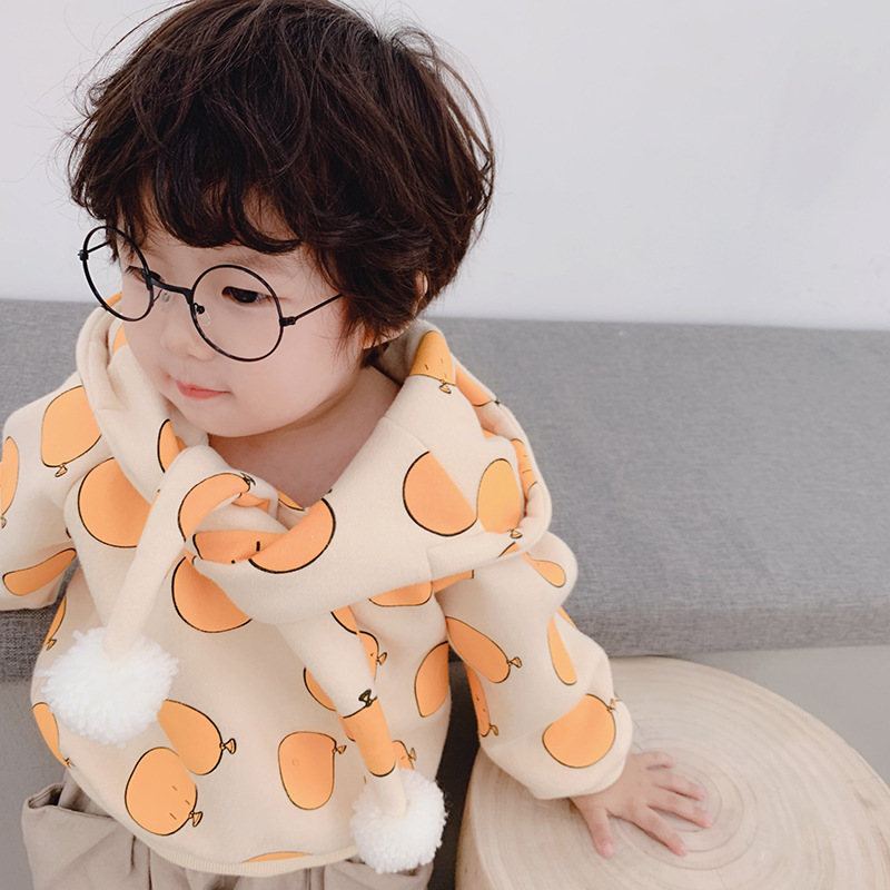Hoodie Clothing Sweatshirt Girls Winter Boys Cartoon Children Autumn Cotton for Pattern-Printed