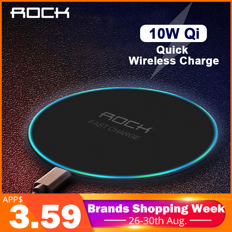 LED Breathing Light 10W Wireless Charger , ROCK Qi Fast Wireless Charging Pad For iPhone