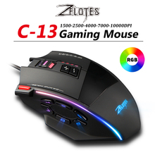 RGB Gaming Mouse ZELOTES Side-Buttons Wired Adjustable Desktop C-13 USB with Macro 10000dpi/Adjustable/13-key/..