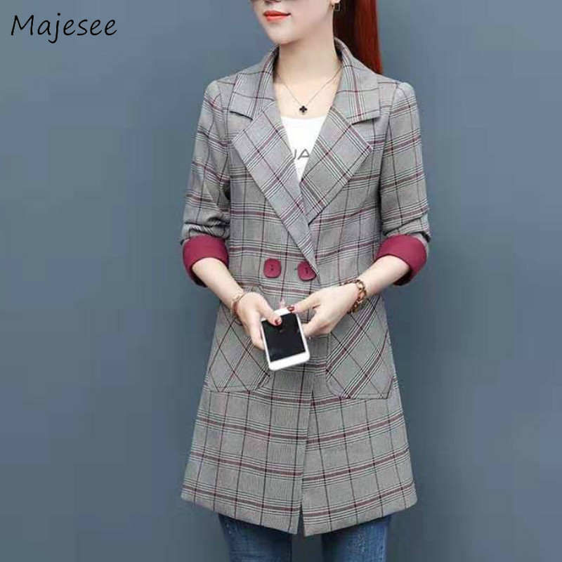 Long Blazer Women Plaid Plus Size Double Breasted Pockets Womens Blazers Novelty Office Ladies Harajuku Korean Fashion Clothing