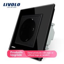 Livolo гнездо питания стандарта ЕС, белая кристальная стеклянная панель, AC 110~ 250V 16A настенная розетка питания, VL-C7C1EU-11