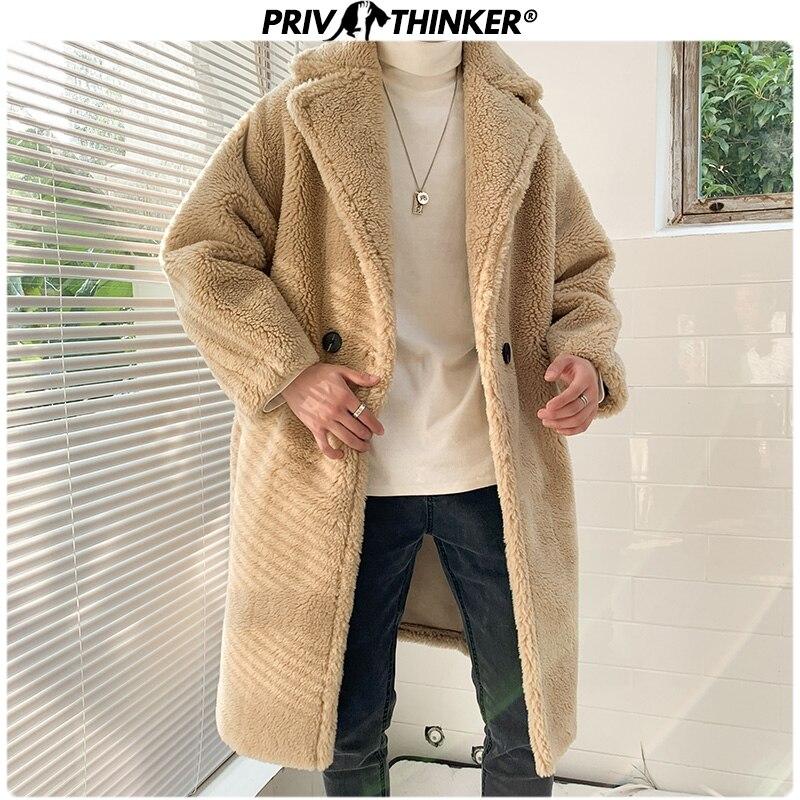 Privathinker Men Suede Plush Long Thicken Warm Trench Parkas Mens 2019 Fashion Winter Outwear Coat Male Street Winderbreak Loose