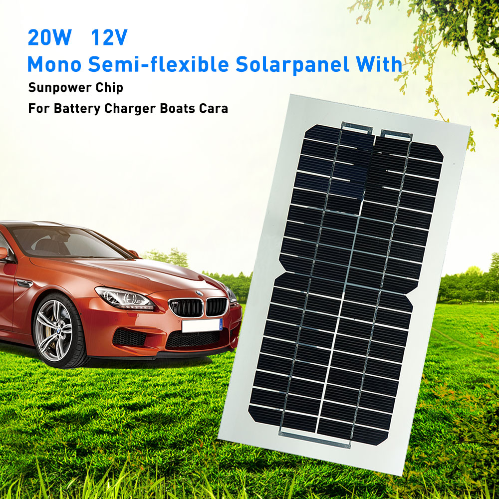 Hot 18V 5.5W Semi Flexible Solar Panel With <font><b>Cables</b></font> For outdoor <font><b>Car</b></font> <font><b>Battery</b></font> Motorcycle <font><b>Battery</b></font> Charging Styling image