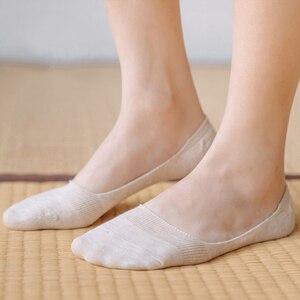 Image 4 - 10 חתיכות = 5 זוגות נשים של כותנה בלתי נראה לא להראות גרבי החלקה סיליקון גרב אביב קיץ מוצק צבע felmen נעל גרביים