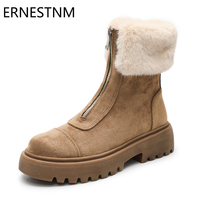 ERNESTNM Women Boots Warm Winter Zipper Flat With Women Shoes Female Cow Suede Ankle Boot Botas Mujer Plush Ladies Snow Boots