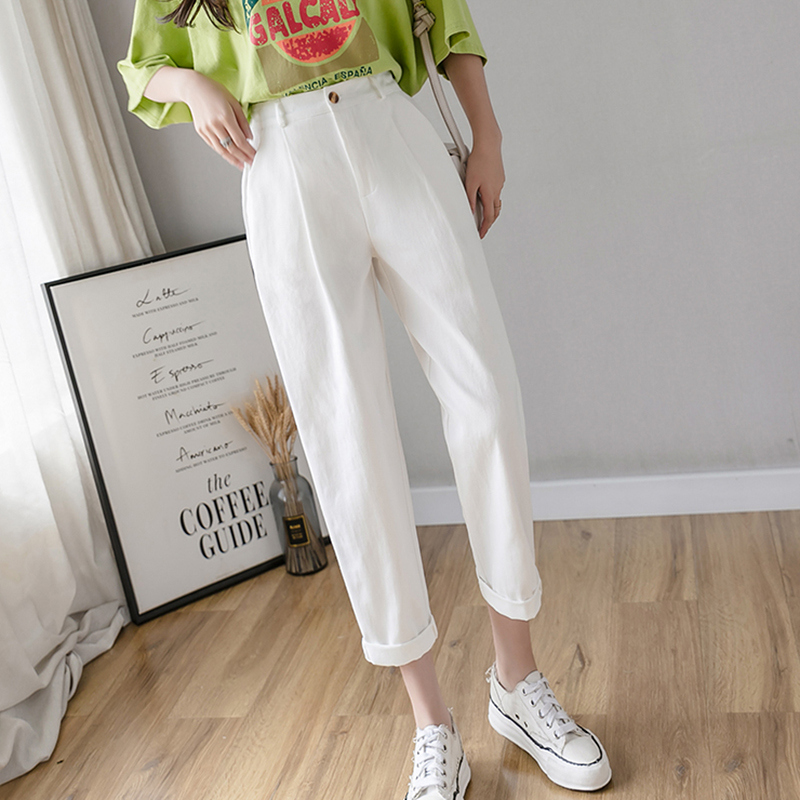 2020 Harajuku Harem Pants Women White Black High Waist Pockets Cargo Pants Korean Casual Plus Size Trousers Women Pantalon Femme