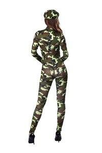 Image 5 - Sexy delle donne Army Military Air Force Pilota di Volo Camouflage Tuta Costume Chiusura Anteriore Catsuit Tuta Uniforme Per La Signora