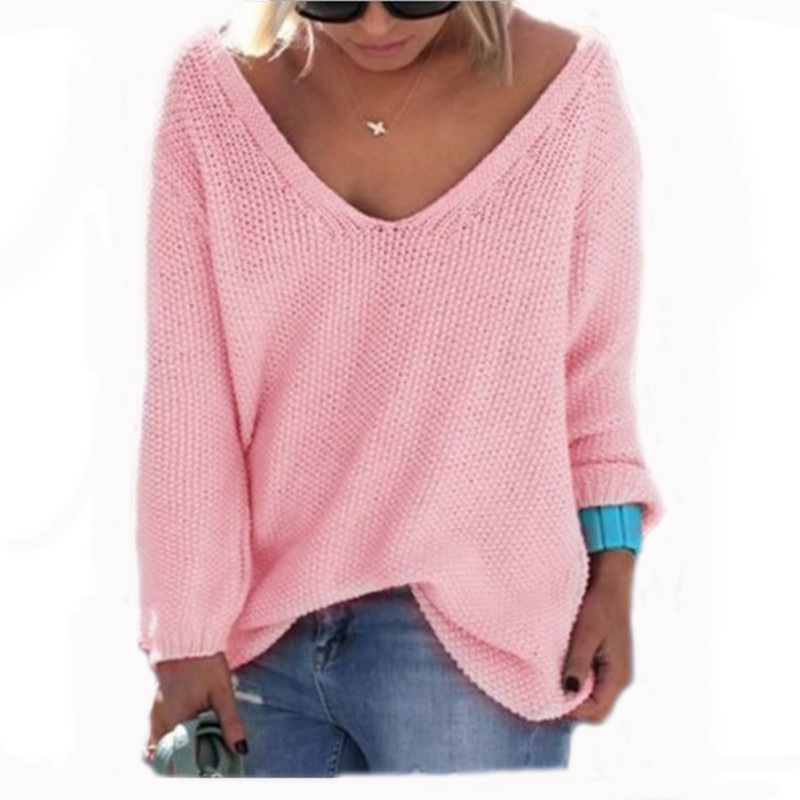 Autumn Winter Fashion Loose Women Knitting Deep V-neck Casual Long Sleeve Solid Colors Sweater Sweaters Clothing