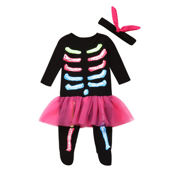 Halloween Baby Girl Romper Baby Kids Skeleton Ghost Costume Halloween Masquerade Party Demon Role Cosplay Clothes недорого