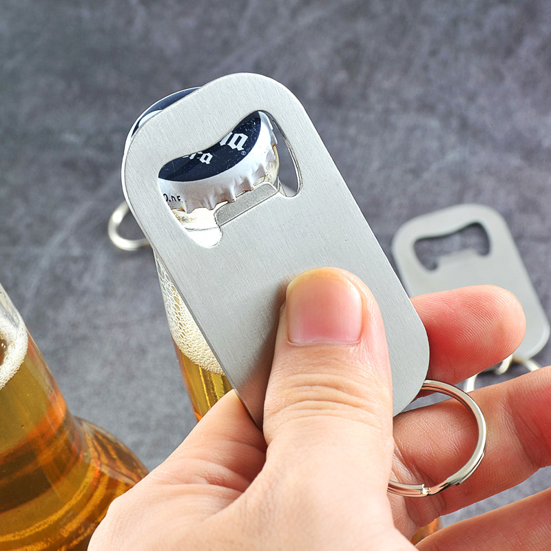 Key Ring Chain Bottle Opener Kitchen Stainless Steel Beer Bottle Opener Portable Travel Outdoor Can Jar Opener Bar Accessories