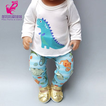 "doll clothes for 40cm Baby doll boy clothes pants set dinosaur for 18 "" doll boy spring outfit(China)"
