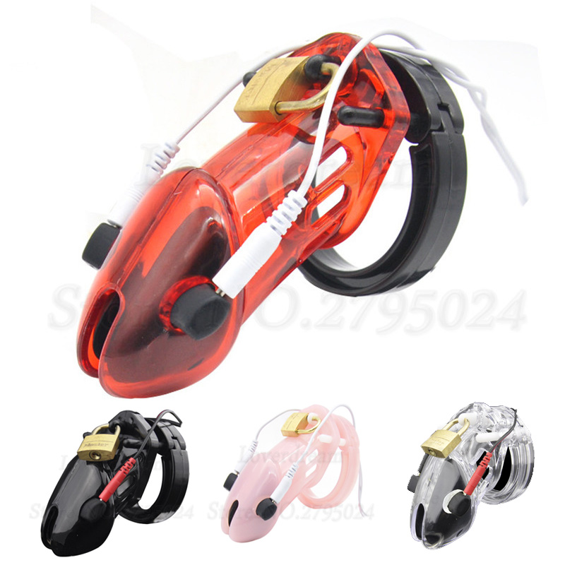 Electro Shock Virginity BDSM Bondage Male Chastity  Cage Devices Cock Ring Electric Penis Sleeve Adult Game Sex Toys For Men
