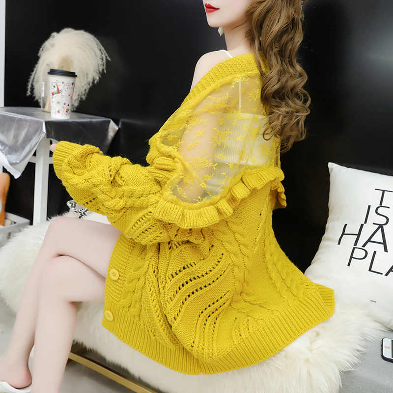 Casual  Women Knitted Patchwork Sweater Winter Fashion Butterfly Sleeve Sweater New Ruffled Turtleneck Knitted Pullover Sweater