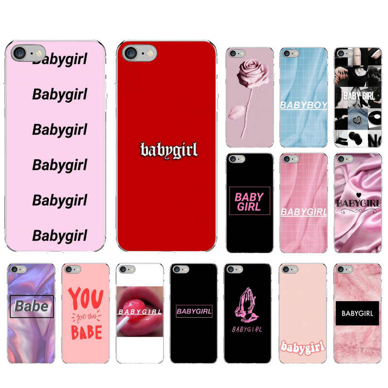 Babe babygirl honing lijn Tekst Transparante Soft Shell Telefoon Case voor iPhone 6S 6plus 7 7plus 8 8Plus X Xs MAX 5 5S XR 11 pro max