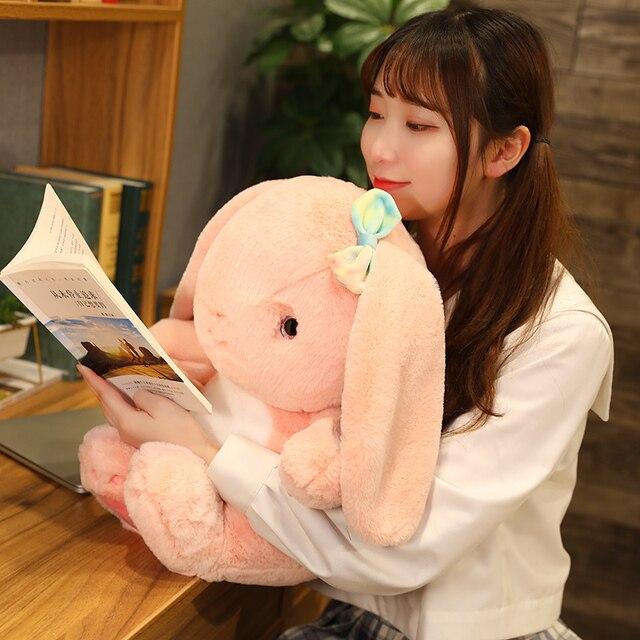 25~40cm Sweet Fuzzy Long Plush Lop Toy Stuffed Sitting Bowknot Rabbit Doll Adorable Bunny Plushie Girlfriend Girl Gift 2