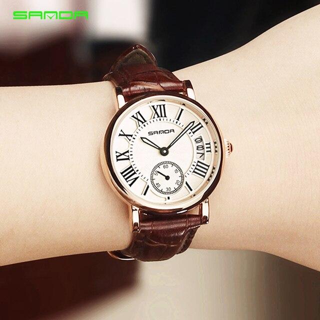 2020 SANDA ساعة ذهبية وردية للنساء فستان ساعة ماركة الإناث الجلود التقويم ساعة الكوارتز السيدات ساعة اليد Relogio Feminino