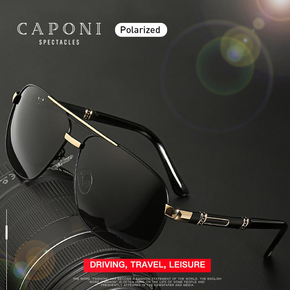 CAPONI 2020 Men's Sunglasses Driving Polarized Eye Glasses Brand Vintage Square Anti Ray UV Protect Sun Glasses For Men CP0960 Men's Sunglasses  - AliExpress