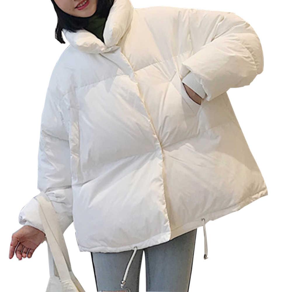 Oeak 韓国スタイル 2019 冬のジャケットの女性スタンド襟固体黒、白、女性ダウンコートルース特大レディースショート