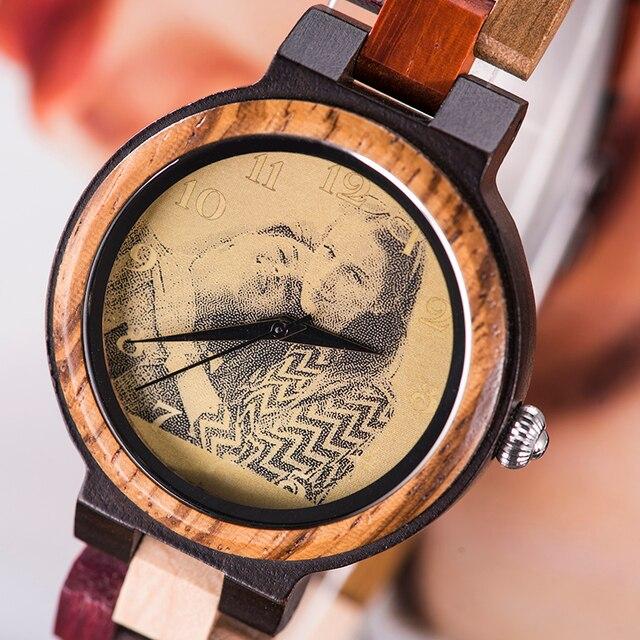 Relojes madera hombre y mujer con impresión de imagen personalizada para parejas 4