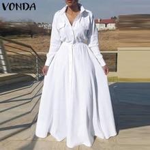 Women Party Long Maxi Dress 2021 VONDA Casual Turn Down Collar Shirt Dress Holiday Beach Sundress Bohemian Vestidos Plus Size