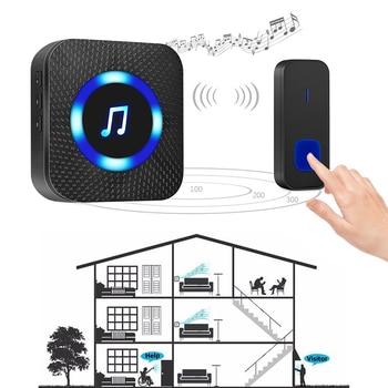 Ready Stock Wireless Doorbell Waterproof Smart Ring 300M Range UK Plug for Home Office Door Bell Chime