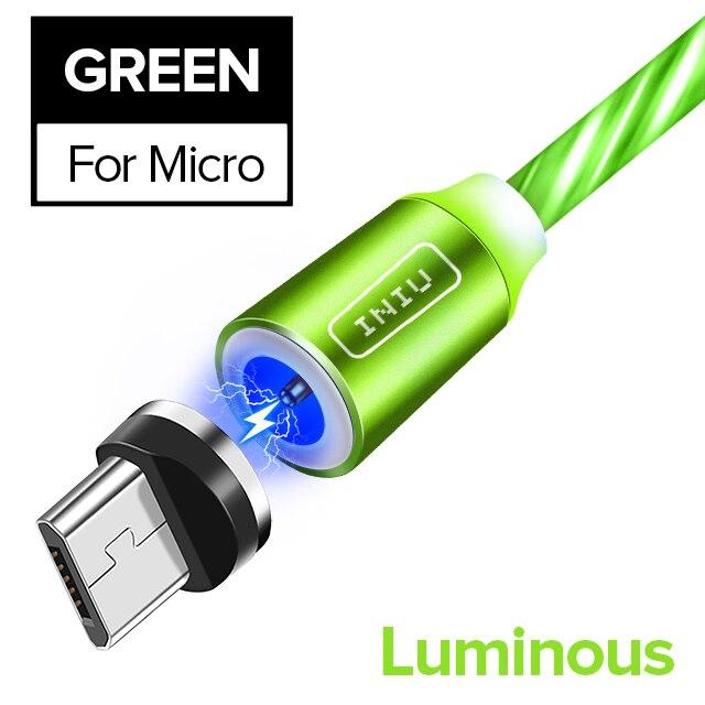 INIU световой поток магнитного освещения USB кабель для iPhone XR X 7 8 микро Тип C зарядное устройство Быстрая зарядка магнит зарядка USB-C тип-c - Цвет: For Micro Green