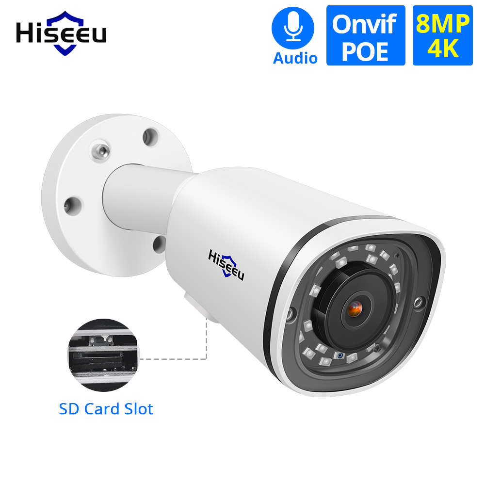 Hiseeu 4K 8MP POE IP Camera Outdoor Waterproof Audio CCTV Bullet Camera SD Card Slot Motion Detection ONVIF For PoE NVR 48V