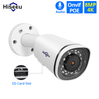 Hiseeu 4K 8MP POE IP Kamera Im Freien Wasserdichte Audio CCTV Kugel Kamera Sd-karte Slot Motion Detection ONVIF Für poE NVR 48V