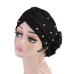 Image 2 - Women Glitter Beaded Hijabs Turban Big Elastic Headwear Wedding Party Pleated Wrap Hair Loss Cap Muslim Hair Accessories