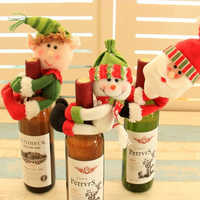 Christmas Decorations Wine Pendant Flannel Snowman Christmas Home Decoration Wine Set Restaurant New Year Party Decor Kids Toys