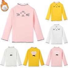 SheeCute/Теплые Топы с длинными рукавами для девочек; Детские футболки с круглым вырезом; зимняя футболка; SCW178