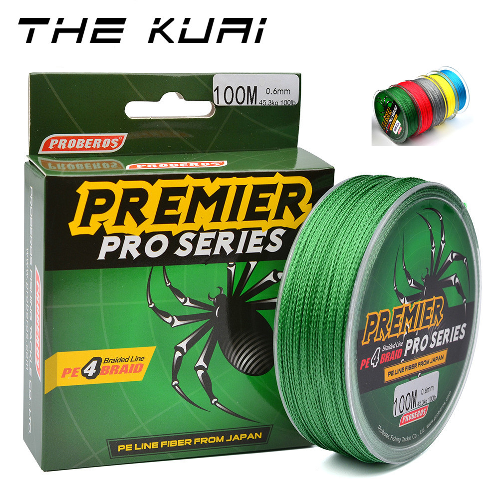 THEKUAI Fishing Lines 100M 4 Strands Braided Wire 6-100 LBS  PE Multicolor 100% Super Power Multifilament Line Rope Cord