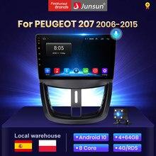 Junsun V1 4 + 64G Android 10 2din radio coche con reproductor multimedia pantalla para PEUGEOT 207 2006-2015 multimedia automóvil bluetooth/carplay/gps navegación