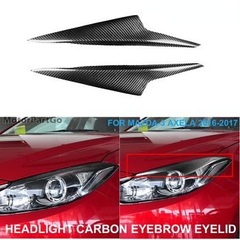 Real Crabon Fiber Head light Eyelid Eyebrow Cover Trim 1pair for  MAZDA-3 Mazda3 Axela 2016-2017 T206 1