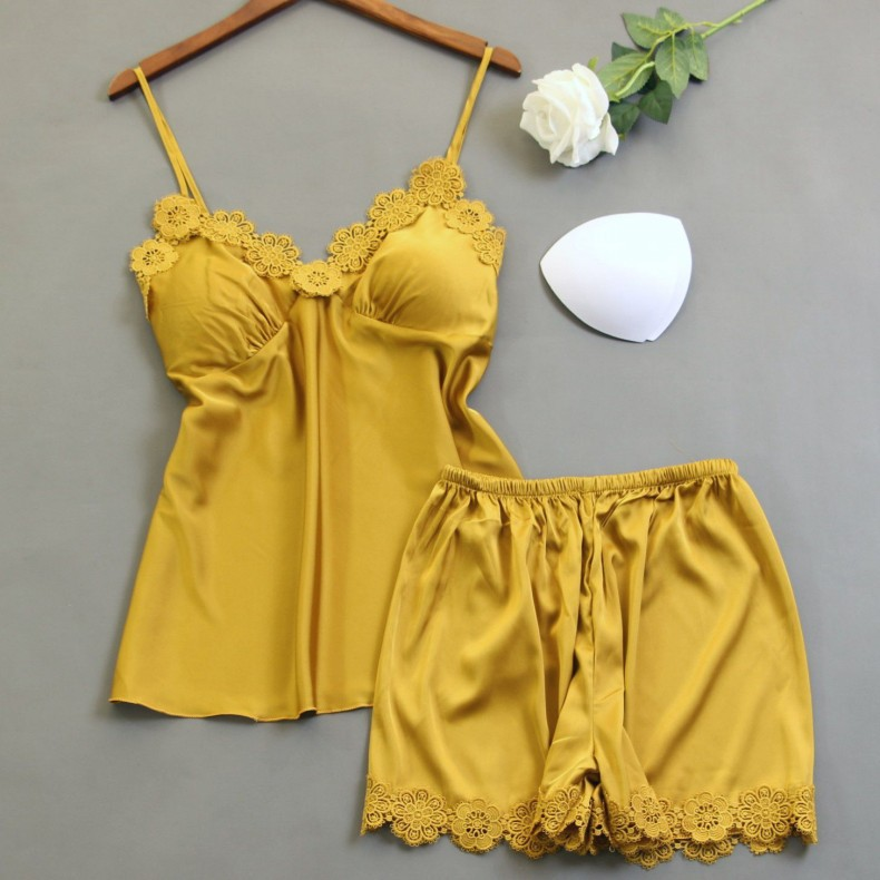 Female Sexy Strap Top&Shorts 2PCS Pajamas Set Satin Flower Homewear Nightwear Lace Patchwork Intimate Lingerie Pijamas Sleepwear