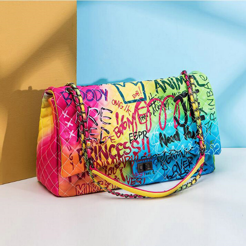 Women Bag 2019 New Color Graffiti Printed Shoulder Big Bags 