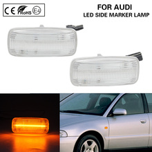 цена на A Pair Clear LED Side Marker Light Lamp turn signal light Lightbar For Audi A2 A3 A4 A6 A8 TT