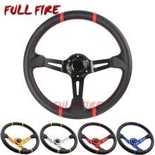 Fashion car 350MM Universal PVC leather steering wheel Racing sports Auto om jdm