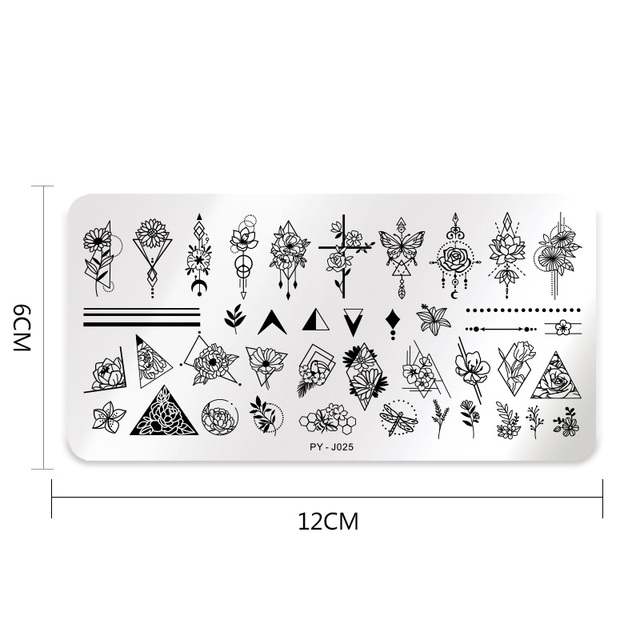 PICT YOU Natural Plants Flower Nail Stamping Plates Christmas Striped Line Mandala Nail Art Plate Stencil Stainless Steel Design 5